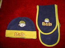 Vintage Boys navy blue & yellow Bob the Builder hat & scarf set