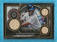 THURMAN MUNSON 2020 Topps Tribute Triple Relics Orange #TTRTM GU Bat 03/25