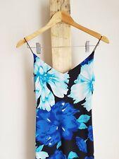 Vintage 90s 2000s Y2k Blue Floral Midi Spring Summer Dress