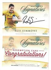 TAP N PLAY 2016 RUGBY WALLABIES ROB SIMMONS AUTO SIGNATURE CARD 07/150