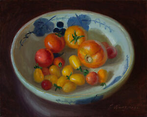 """Original still life oil painting realism cherry tomatoes 10x8"""", Y Wang Fine Art"""