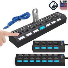 7/4 Port USB 3.0 HUB High Speed Splitter Extender On/Off Switches Laptop Adapter