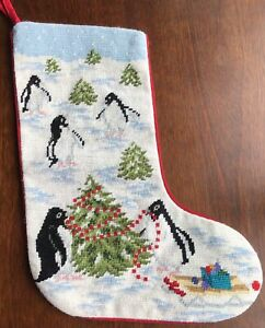KATHA DIDDEL vintage needlepoint Christmas stocking PENGUINS #1 trimming tree