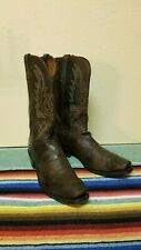 LUCCHESE 1883 MadDog Goat leather Cowboy Boots Mens 13D Drk Brown. Square Toe!