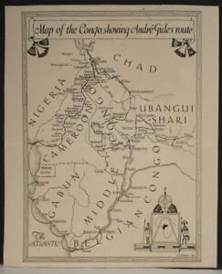 CONGO TCHAD CAMEROON GABON 1927 ANDRÉ GIDE ANTIQUE ORIGINAL LITHOGRAPHIC MAP