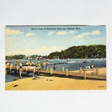 Beach Scene Holland Michigan Vintage Curteich Linen Postcard Unposted