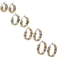 2-8pcs Tri-color Stainless Steel Women Hoop Huggie Earrings Rhinestone Inlaid