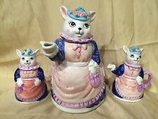Vintage Ceramic Bunny Rabbit Tea Pot Set Hand Painted