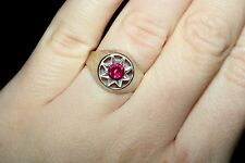 Silver Awesome RUBY stone Unique Vintage Ring USSR Antique SIZE 7.5