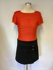 KAREN MILLEN ORANGE PLEATED SHORT SLEEVE TOP WITH BLACK SKIRTED DRESS SIZE 10