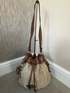 FOSSIL CREAM/BEIGE CANVAS & TAN LEATHER DRAWSTRING BUCKET BAG