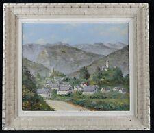 Huile sur panneau signée : village de Castet vallée d'Ossau Montagne Pyrénées