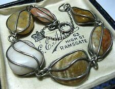 Vintage Jewellery Antique STERLING SILVER Scottish Agate Pebble BRACELET