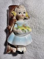 "CAFFCO Girl Figurine Vase Ceramic 6"" DRESS Flowers Tree Blue Yellow RARE Vintage"