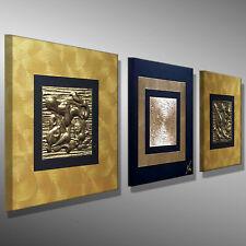 MALEREI BILDER 3D GOLD ACRYLBILD 90x30 KUNST Leinwand MODERNE abstrakt MICO ART