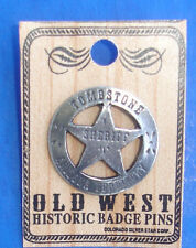 Western Antiqued Silver Tombstone Sheriff Hat Pin/Tie Tack/Lapel Pin