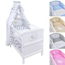 Babybett Kinderbett Juniorbett Mond 140x70 Weiß Bettwäsche Bettset komplett