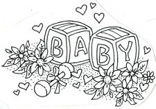 Unmounted Rubber Stamps, ABC, Baby Shower, Baby Rattle, Baby Blocks, Butterfly