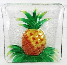 Pineapple Art Glass Plate Hand Painted Home Decor