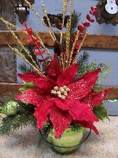 Red POINSETTIA Lime BIRD Gold Beads MERCURY GLASS Bucket CHRISTMAS Arrangement