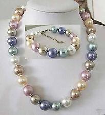 Pretty 12mm Mulriple Color Southsea Shell Pearl Necklace Bracelet 18inch
