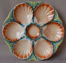 Georgous French Majolica Sarreguemines Oyster Platter Pink and Blue