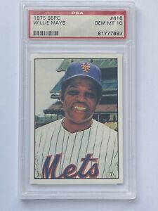 1975 SSPC #616 WILLIE MAYS METS PSA 10 MUST HAVE!!
