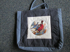 Handmade Quilted Women's Tote Bag 2 handles Travel Carry All bag  Blue