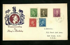 Postal History Canada FDC #284-288 Unknown King George VI 1949 Montreal PQ