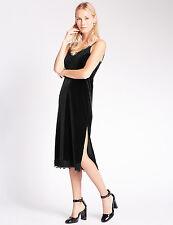 Vestido de noche nuevo M&S Terciopelo Negro Encaje Midi Cóctel Cambio De Deslizamiento Talla 18 Teatro