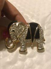 Gold Tone Metal Crystal Rhinestones Elephant Pin Brooch 2� Good Luck Charm