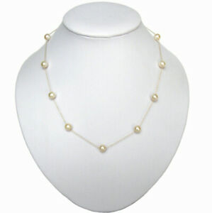 """16"""" 18"""" or 20"""" 6-7mm White Pearl 14K Yellow Gold Tin Cup Necklace"""
