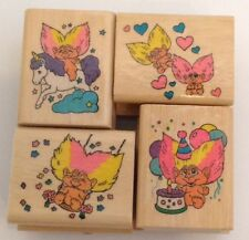 TROLL RUBBER STAMPS Noteworthy Lot of 4 Trolls 1992 Unicorn Birthday Love Swing