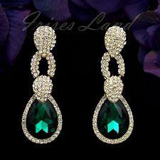 Gold Plated GP Emerald Green Crystal Rhinestone Drop Dangle Earrings 00131 New