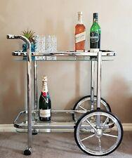 DRINKS TROLLEY BAR CART SILVER FRAME GLASS SHELVES WINE WHISKEY STORAGE