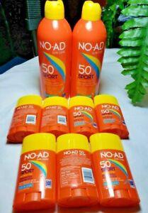 7 NO-AD Sun Care Body/Face Sticks SPF50 1.5 oz 12/22 + 2 Cans No-AD Spray Bonus