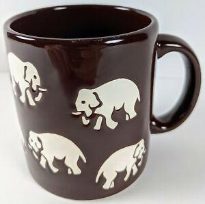 WAECHTERSBASCH Elephant Pattern Coffee, Tea Mug Cup W-Germany 12 oz Brown