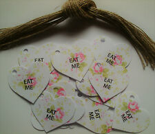 Eat Me Pink Floral Heart Gift Tags Labels Vintage Style Afternoon Tea Party x 25