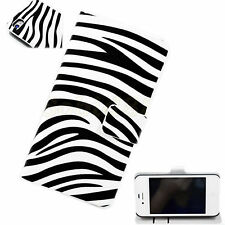 Fashion Zebra Lines Leather Printed Wallet Cover Case For Apple iPhone 4 4G 4S