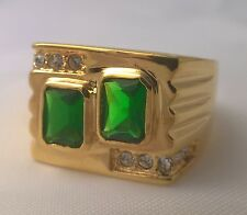 G-Filled Mens 18k yellow gold simulated diamond emerald ring Gents green oblongs