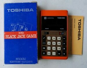 Vintage Orange TOSHIBA BLACKJACK Calculator BC-1010BJ with new batteries