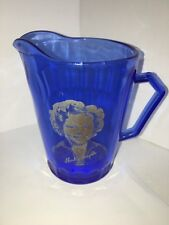 """Shirley Temple Cobalt Blue Small Pitcher 4 1/2"""""""