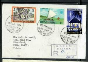GILBERT & ELLICE ISLANDS COVER (PP0806B)1971 QEII 3 STAMPS ON REG COVER MAINA TO