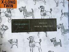 Cynthia Rowley Twin XL Sheet Set Dog Print 3 Piece Set NWT School College