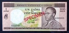 Congo Democratic Republic, 1 Zaire or 100 Makuta, 1-9-1968, P-12s2, UNC