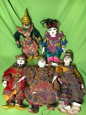 "lot of 5 Myanmar Carved Puppet Wood Burma Marionette 14"" nice items"