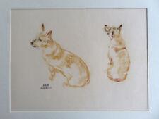 André Margat, sanguine , deux adorables chiens