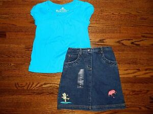 Girl's The Children's Place Turquoise Top & Toffee Apple Denim Skirt Set SZ 5/6