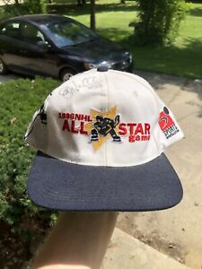 Vintage 1996 NHL All Star Game Sports Specialties Laser Snapback Hat Cap Signed