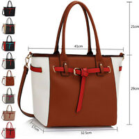 New Multi Color Faux Leather Ladies Womens Shoulder Bag College Handbag Tote UK